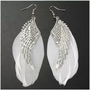 Jewelry - Boho Angel Wing Feather Dangle Earrings
